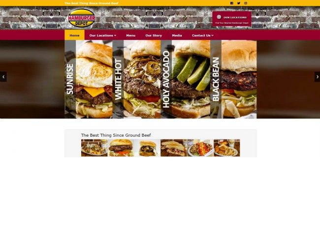 Website Screenshot: Hamburger Depot website