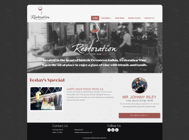 Website Screenshot: Restoration Wine Bar
