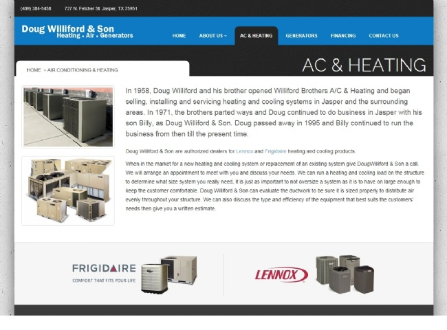 Website Screenshot: A/C and Heating Services